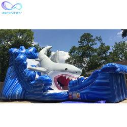 상어 팽창식 물 슬라이드 놀이공원 불팽창식 물 장난감 슬라이드 판매