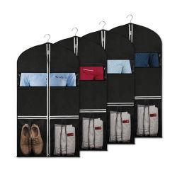 Sac de vêtements non tissé fenêtre claire, la coutume de gros Protecteur réutilisable de mode pliable chiffon anti-poussière robe Cache patin de voyage de stockage costume sac fourre-tout