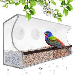 مغذي الطيور نافذة الأكريليك مع أكواب امتصاص قوية والبذور الدرج