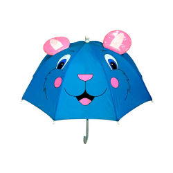 En el oído de los animales a los niños de color blanco lindo manejar Cartoon Kids paraguas