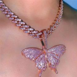 Кубический Циркон Кулоны в форме бабочки женщин ожерелья мужчин хип-хоп ожерелье-участник украшения подарок