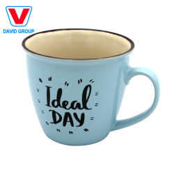 شعار كوب الشاي الخزفي الملون من المصنع شعار مطبوع باللون الأبيض العادي كوب قهوة بني