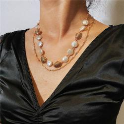 كولى بيتش دايلنج شقة من نوع شل بيتش كولى من نوع جولد ميتال الأوروبية والأمريكية عقد مجوهرات الأزياء المزدوجة لؤلؤة رفيعة للسيدات