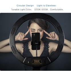 12 van de LEIDENE van Dimmable van de duim Licht van de Ring van de Steun Uitzending van de Desktop het Levende met de Houder van de Telefoon van de Cel van de Tribune van de Driepoot