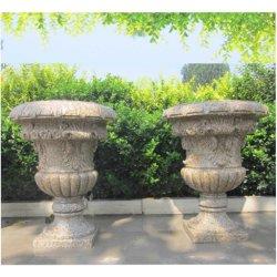 حجر طبيعي زهرة وعاء مستديرة غرانيت بلطة مع راحة ل في الهواء الطلق