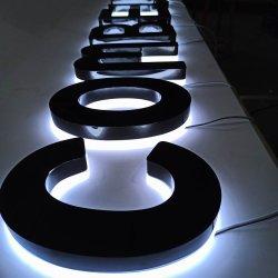 주문품 미러에 의하여 완료되는 스테인리스 상점 정면 Backlit Signage 표시