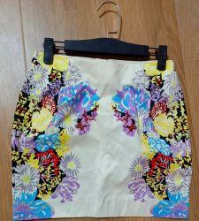 الجملة المستخدمة الملابس زهرة رخيصة طباعة chiffon ملونة غير رسمية مثير تنورة السيدات في الموضة