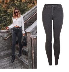 Damenmode High Waist Slim Pencil Hose Jeans Hose