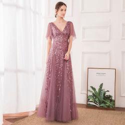 Sequined mayorista el dorado, violeta, elegantes Señoras sexy largos vestidos de fiesta