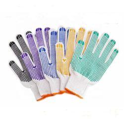 Medidor de 7/10 coloridos Pontos de PVC de malha de algodão branco luvas de trabalho