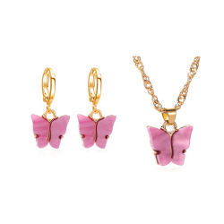 Nouvelle Mode féminine Sweet Animal Earrings acrylique papillons colorés Hoop Earrings
