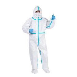 Vestito protettivo del Livello 2 dei Anti-Batteri del Livello 3 del polsino incappucciato professionale del Knit