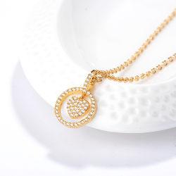 Gold der Form-18K Rose überzog Legierungs-silberne hängende Set-Schmucksache-Ketten-Kristallhalskette mit Perle für Frauen