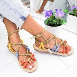 Mulheres Plana Casual Flip-Flops Abrir Toe Lace Up sandálias de praia