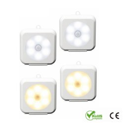 LED-Schrank-Licht, LED-Fühler-Nachtlicht-magnetische Unterseite u. Haken, PIR u. heller Fühler für Küche, Treppenhaus, Keller, Badezimmer, Wandschrank, Garage, Schrank