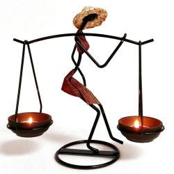 Het ijzer siert de Oogst van de Vrouw de Houders van de Kaars van Tealight van het Ijzer van de Vorm van de Last Decoratieve Artistieke
