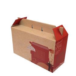 علبة مخبز بني مخصصة مع لوح ورق صديق للبيئة أبيض علب معبّرة من الكرتون للمعجنات الكوكيز والكيك