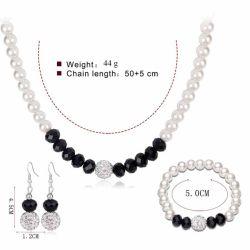 La moda nupcial de boda Conjunto de joyas de la Prom parte de la perla de cristal de color plata Pulsera Collar Aretes para mujeres juegos de joyería