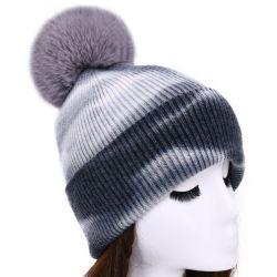 Tejer Hat Mujer Invierno Tie-Dye Angora Cachemira tejidos de punto pelo sombreros Beanie