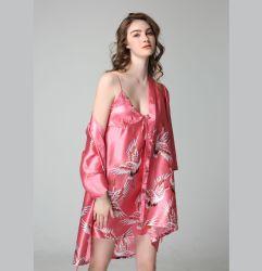 Form-Morgen-Kleid-Pyjama-Frauen-Sommer-Abend-Kleid-Mädchen-Bademantel