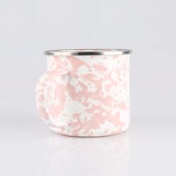Rosafarbenes gesprenkeltes gestoßenes Entwurfs-Decklack-Kaffeetasse-Metalltrinkende Cup-Edelstahlcookware-Set