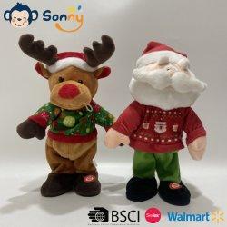 De Chinese het Dansen van de Gift van de Pluche van Kerstmis van de Vervaardiging Muzikale Gift van Kerstmis van het Rendier van de Pluche van Kerstmis & van de Jonge geitjes van de Kerstman