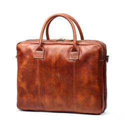 Caliente la venta de buena calidad de piel genuina Bolso Maletín retro de los hombres de cuero marrón