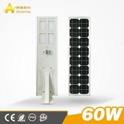 Projet du gouvernement 60W tout-en-un/lampe intégrée d'éclairage LED de plein air Rue lumière solaire avec panneau solaire mono