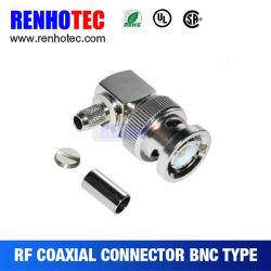 À angle droit de connecteur mâle BNC à sertir pour câble RG58 RG59