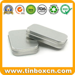 Llanura con bisagras de Estaño Plata rectángulo cajas para regalo de Metal Caso