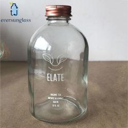 Gran capacidad de almacenamiento la botella de licor 1000ml de jugo de la Ronda de Boston Botella de vidrio para bebidas y hielo de agua de té blanco con tapa de rosca