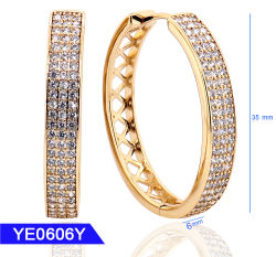 New Design Fashion Jewellery 925 Sterling Silver O Brass 18k Oro Cubic Zirconia Orecchini A Cerchio Grandi Per Donne