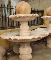 Jardin de sculptures en pierre de marbre rose Fontaine à eau à billes de roulement