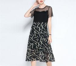 夏のオフィスの網の上のデジタルプリントスカート女性のためのライン服