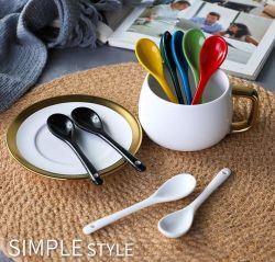 Únicas de cerámica de porcelana esmaltada color saludable creatividad al servicio de vajilla cuchara para taza taza, café, té