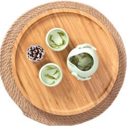 precio de fábrica para el té de la bandeja de madera redonda