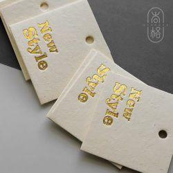 Impresos personalizados de papel tela barata cuerda de colgar la etiqueta etiqueta caliente
