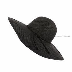 En Stock Moda Dama Bowknot grandes Brim Floppy plegable Sombrero de Paja negro sombrero de verano en la Playa Sol Hat