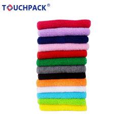 Tejido transpirable colorido Logotipo personalizado de la muñequera de tenis