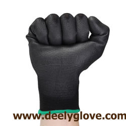 Polyester 100%/Nylonschwarz-PU beschichtete Arbeits-Handschuhe mit Cer-Bescheinigung