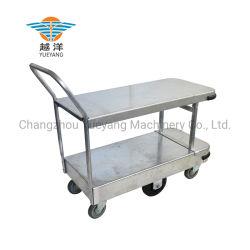 Plataforma de almacenamiento de acero galvanizado mano empujar el carro camilla para sitios comerciales y almacenes