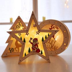 LED 가벼운 크리스마스 훈장 나무로 되는 책상 장신구