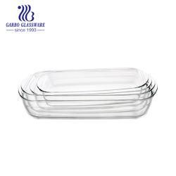 Vierecks-Borosilicat-Glas-Backen-Teller der Mikrowellenherd-stellte sicherer einfacher Reinigungs-3PCS ein (TZ4-GB13G58A)