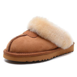 Custom Klassiek Binnenvloer Fur Slippers China Schapenhuid 100% Pure Wollen, zachte scheermedjes