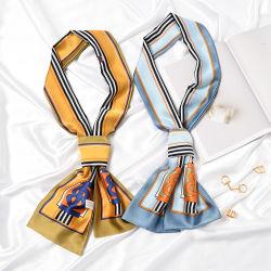 Las prendas de vestir Accesorios Dama Pañuelo de seda corbata en stock, nuevo diseño de moda Bufanda de logotipo personalizado