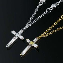 Moda Mujer oro de 18K Plata 925 Joyas Collar Colgante Cruz circón