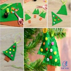 De groene Gevoelde Ornamenten van de Kerstboom