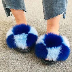 Mousse à mémoire de fourrure de renard polaire Lady peluche sandale Diapositive pantoufles