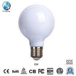 Lâmpada de incandescência LED Distribuidor chinês G80 8W E27/B22 960lm igual 100W com marcação RoHS Âmbar, EMC, LVD