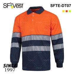 箱のポケットが付いている2020年の多綿ファブリック長い袖のTシャツの熱伝達テープワイシャツ